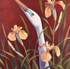 Great Egret and Yellow Irises