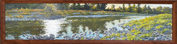 """Jarvela-Low Sun on the Mad River,acrylic on panel, 11 x 23"""" framed."""