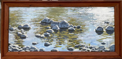 """Jarvela-Detail of from Incoming Fog_acrylic on panel, 16 x 32 1_2"""" framed."""