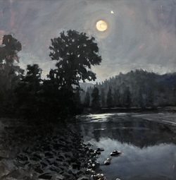 "Jarvela-Cottonwood Moon-acrylic on canvas 32 x 31"""