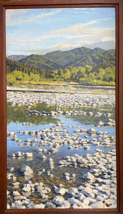 "Jarvela-Frog Cobble  acrylic on panel, 58 x 33"" framed"