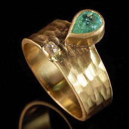 Anel turmalina e diamante
