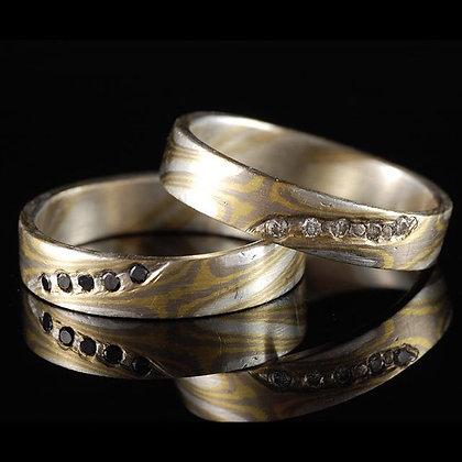 Alianças Mokume Ouro, Prata, Diamantes