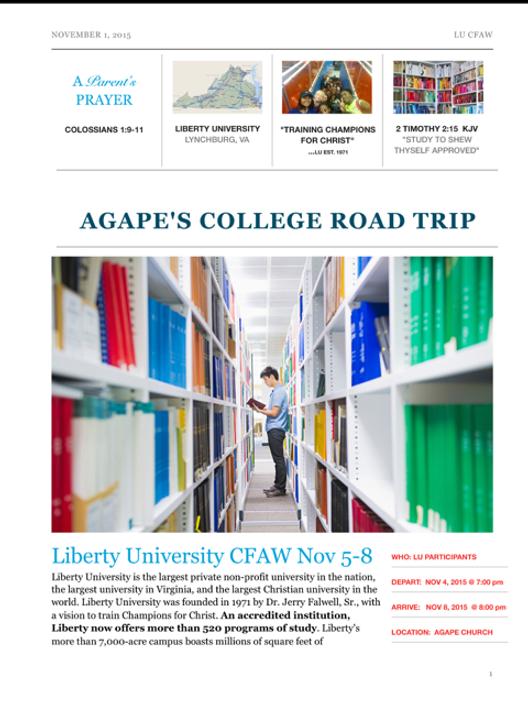 AGAPE'S COLLEGE ROAD TRIP