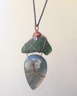 Moldavite and labradorite talisman