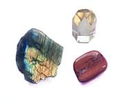 Labradorite, citrine & red jasper crystals