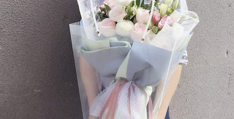 Clear Flower Bouquet Bags with Handle, 5 Pcs