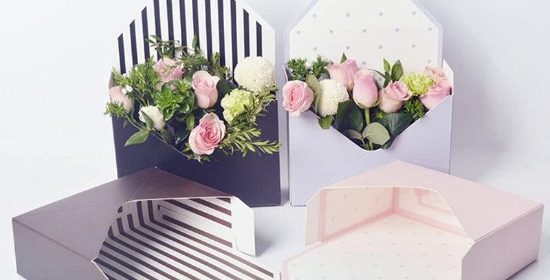 Florist Bouquet Packaging Gift Box Envelop Paper Boxes, 7.9x2.8x5.7 Inch, 5 Pcs