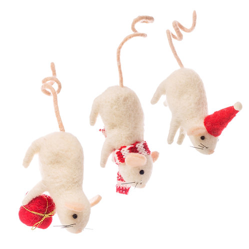 Mice Hanging by their Tails Felt Decoration