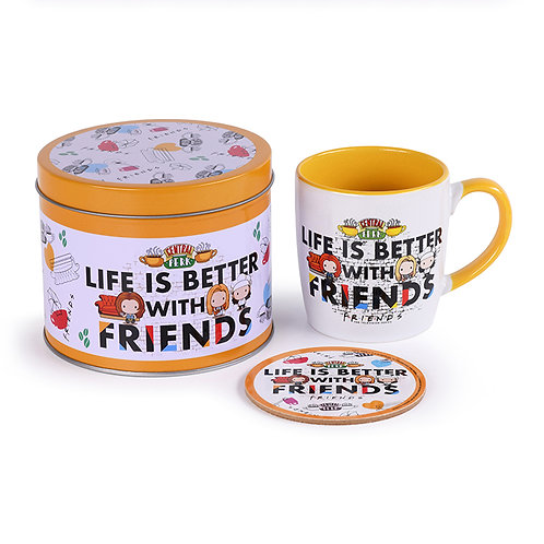 Friends Life Is Better Mug, Coaster and Tin Gift Set