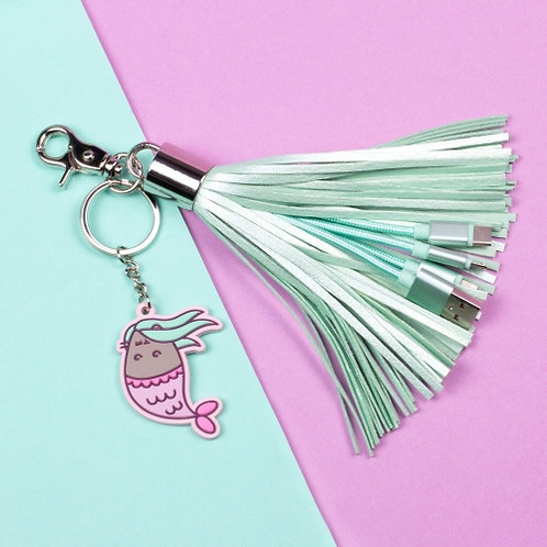 Pusheen Mermaid Tassel Charger Cable
