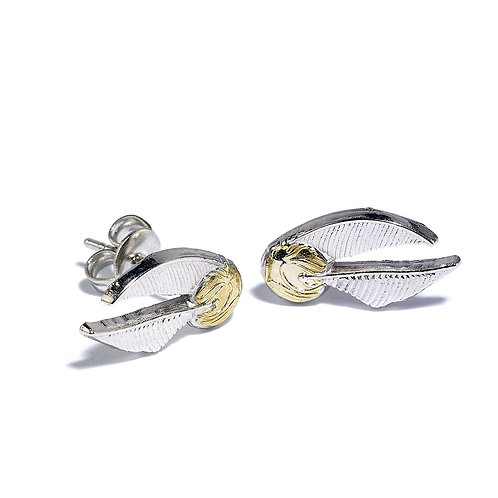 Harry Potter Silver Plated Golden Snitch Stud Earrings