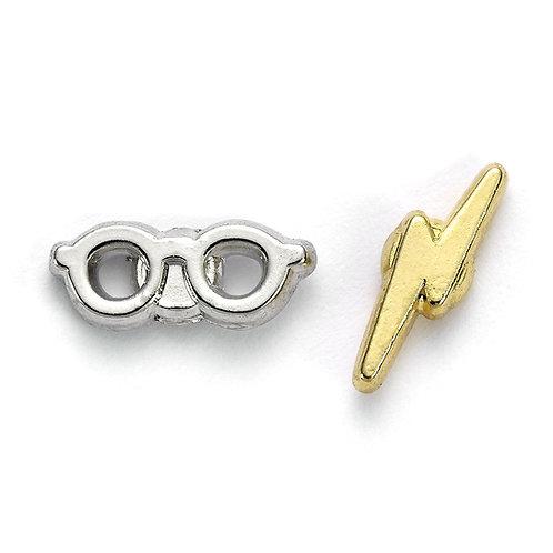 Harry Potter Lightening Bolt and Glasses Stud Earrings