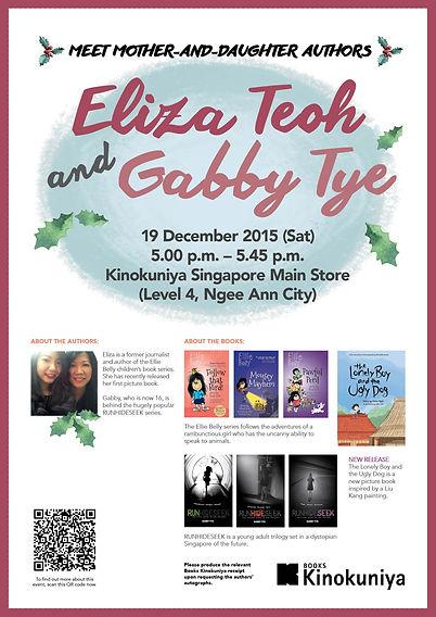 Meet authors Eliza Teoh & Gabby Tye at Kinokuniya, Ngee Ann City, Singapore, 19 Dec 2015, 5pm