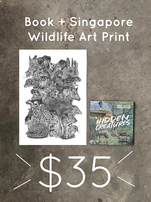 Wildlife art print + book set
