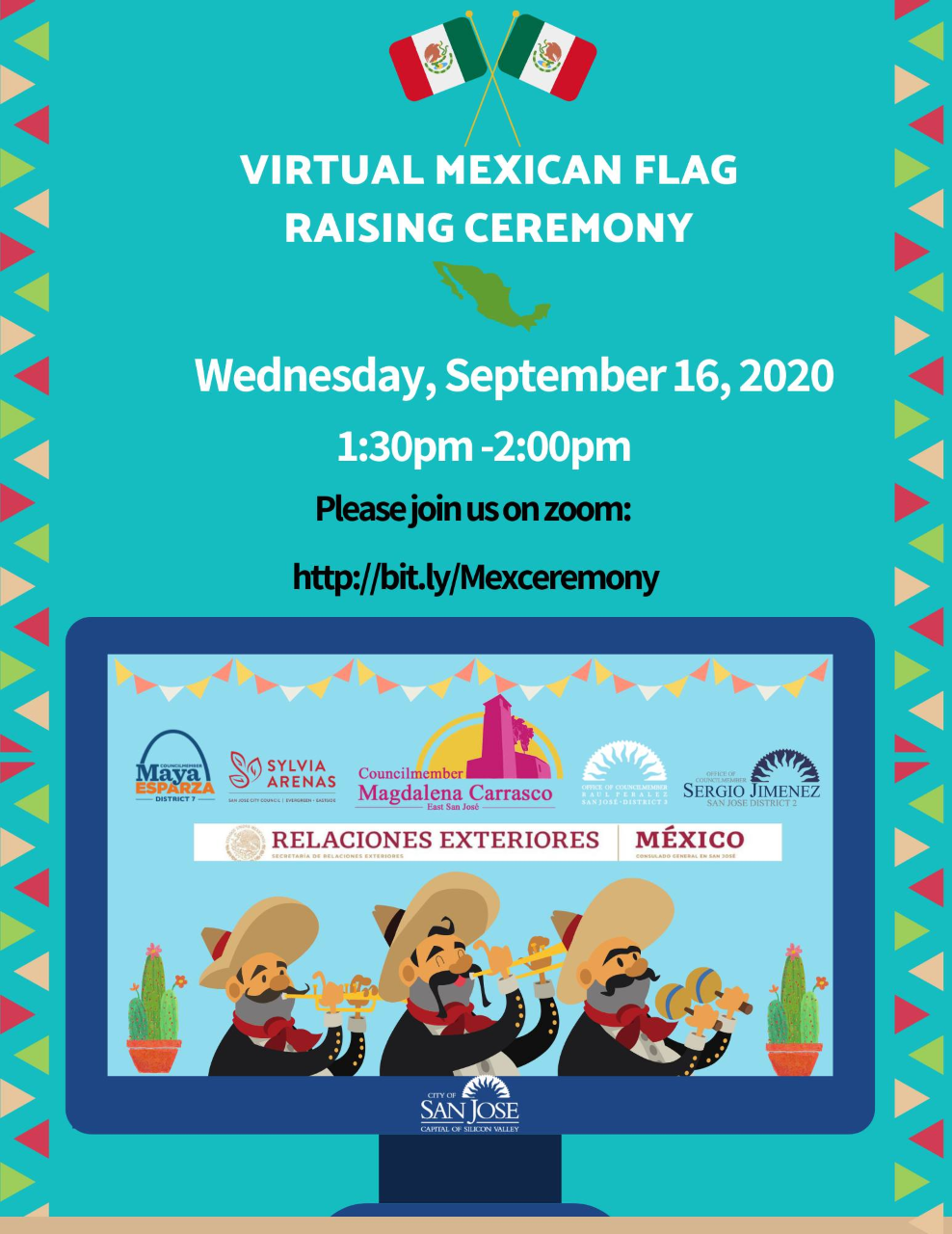 Virtual Mexican Flag Raising Ceremony Flyer
