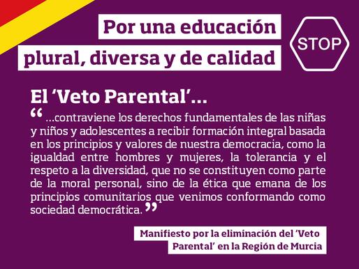 Manifiesto por la eliminación del 'Veto Parental' en la Región de Murcia