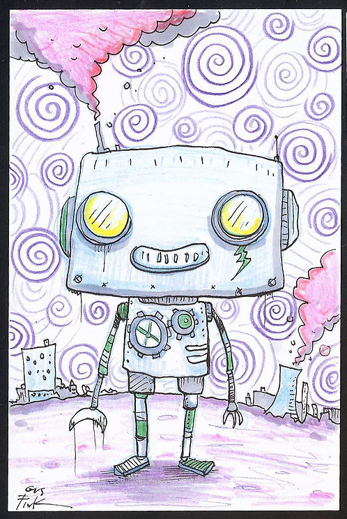 "Custom 6x4"" Robot art"