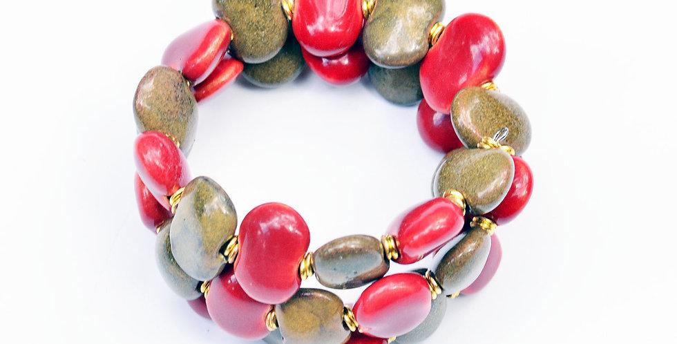 Shale Dinner Mustard Bright-red, Kazuri Bracelet