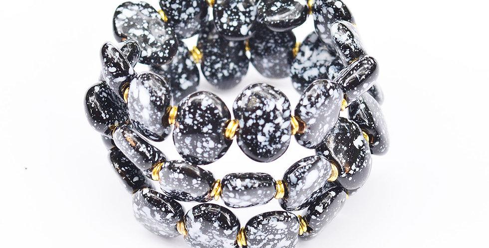Shale Black and White, Kazuri Bracelet
