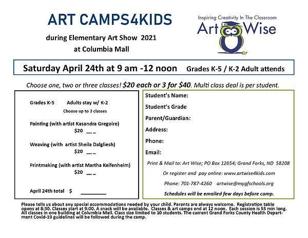 Art Camp ArtShow registration form 2021.