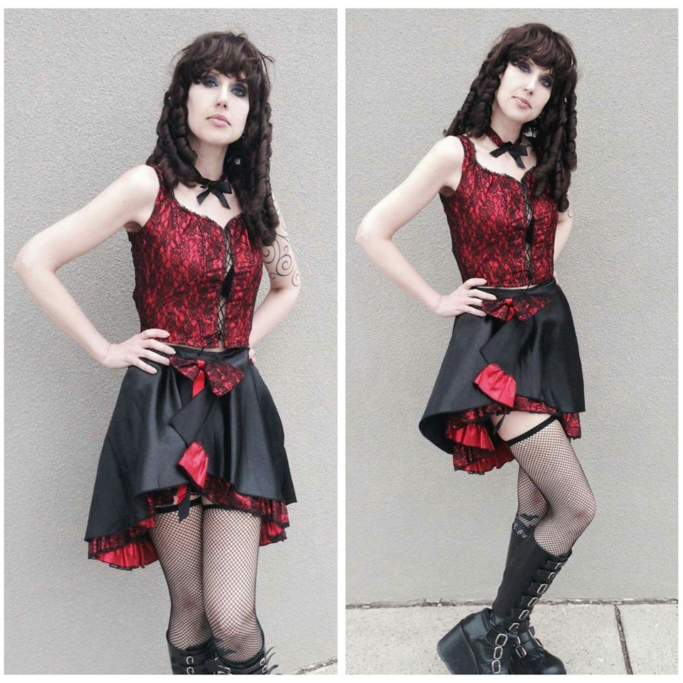 Red & Black Lace Can Can Dancer
