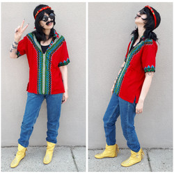 Red + Green Hippie Shirt