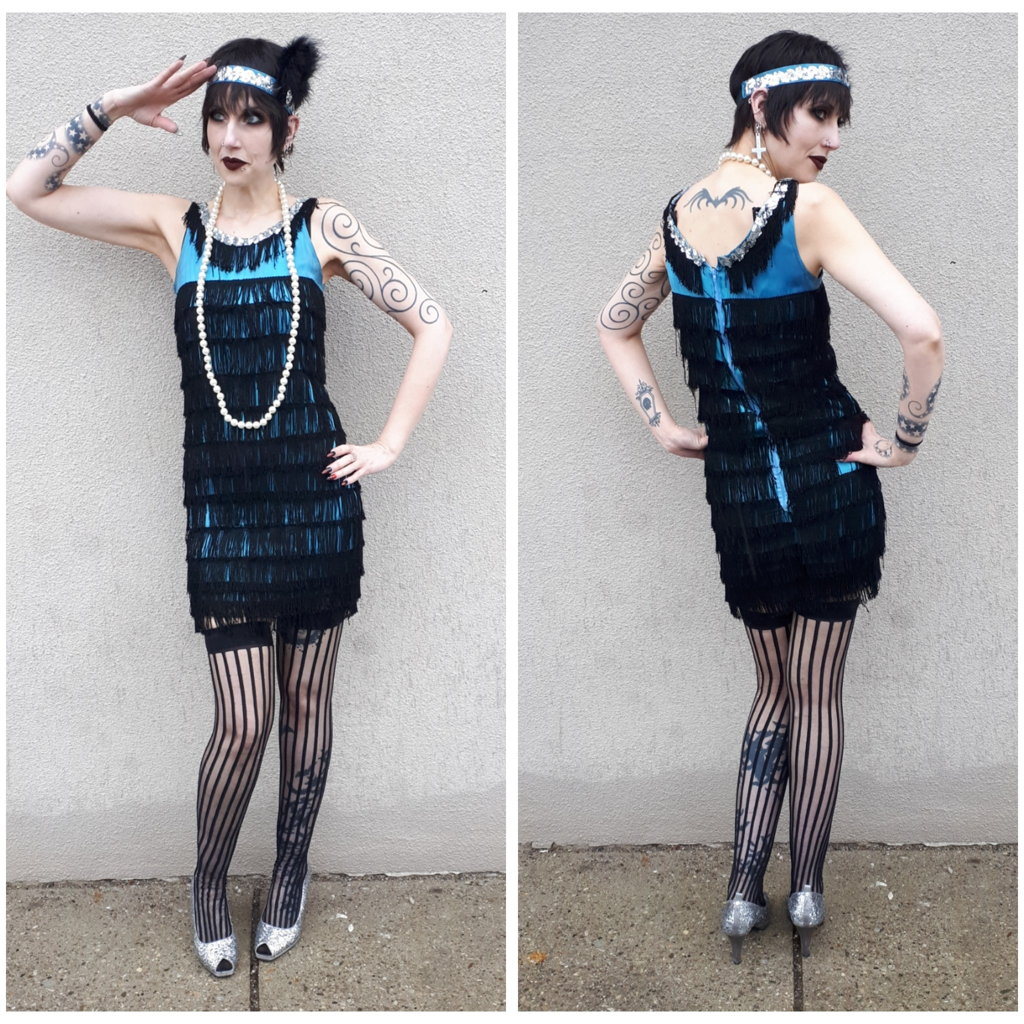 Blue + Black Fringe Flapper