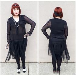 Black Flapper w/ Mesh Skirt