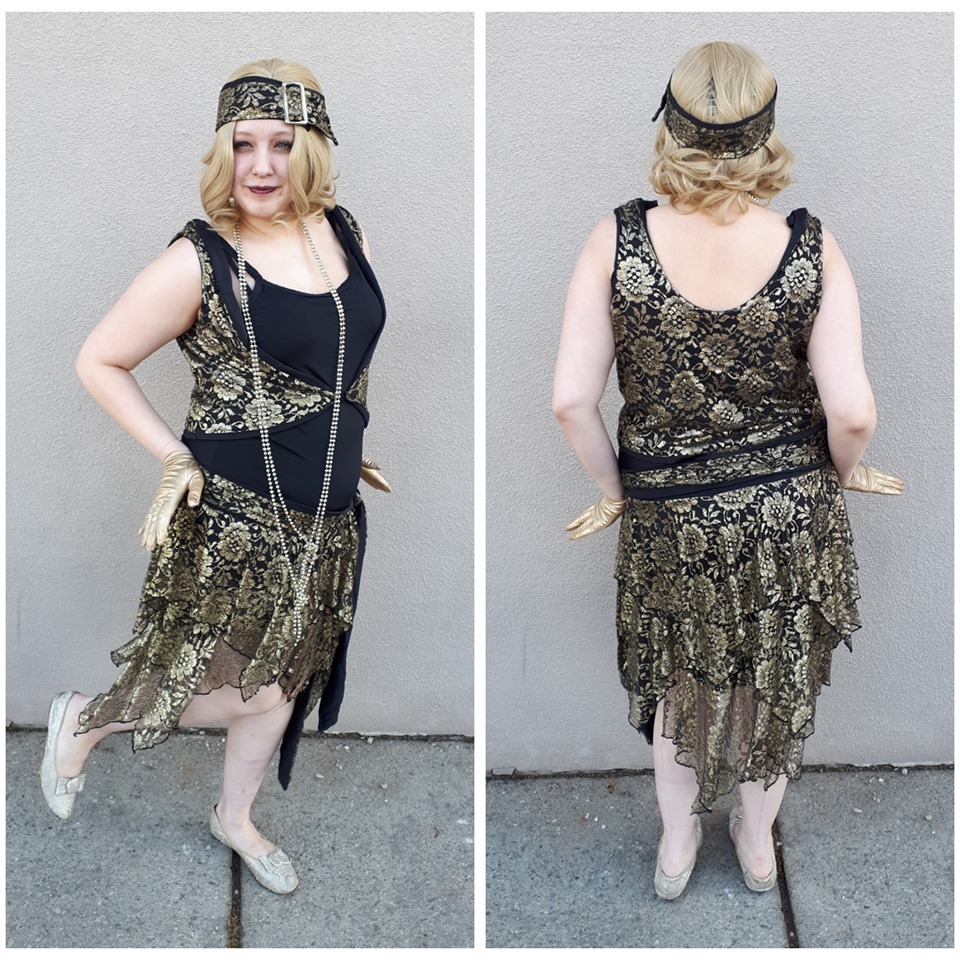 Black & Gold Lace Flapper