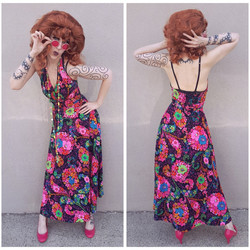 Pink Floral 60s/70s Dress