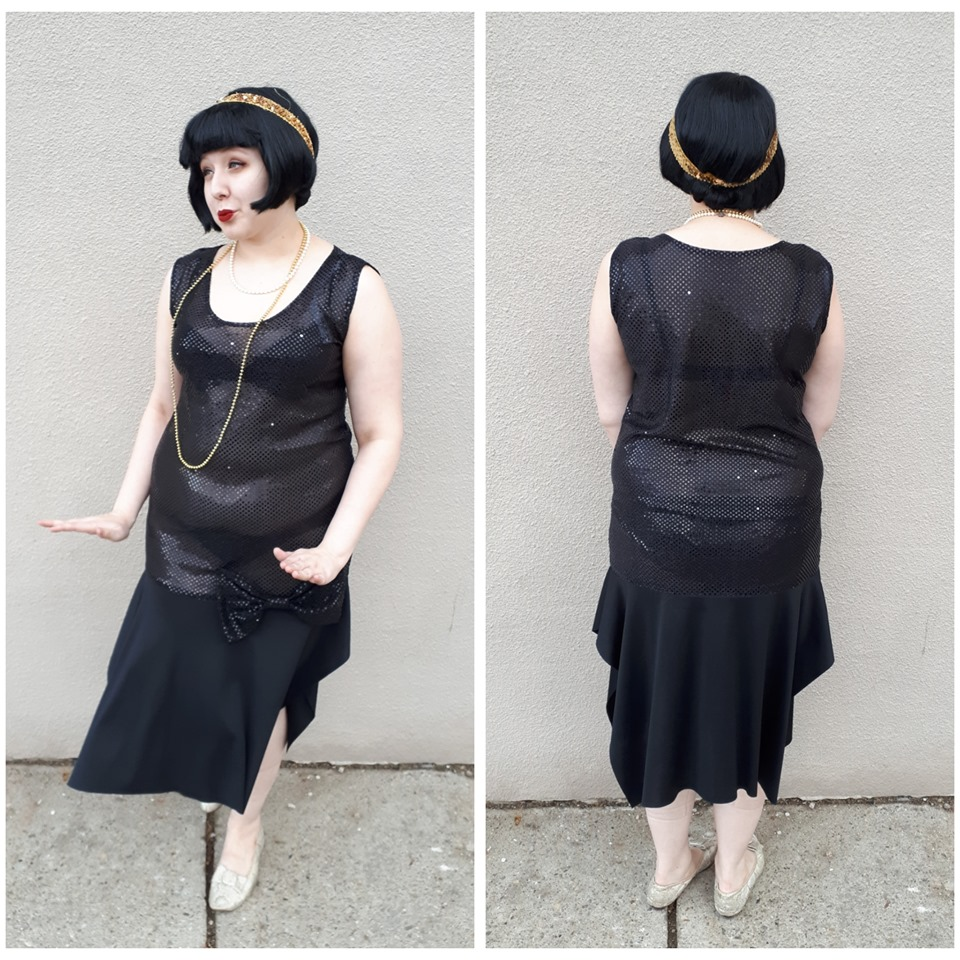 Black Sequin Flapper w bow