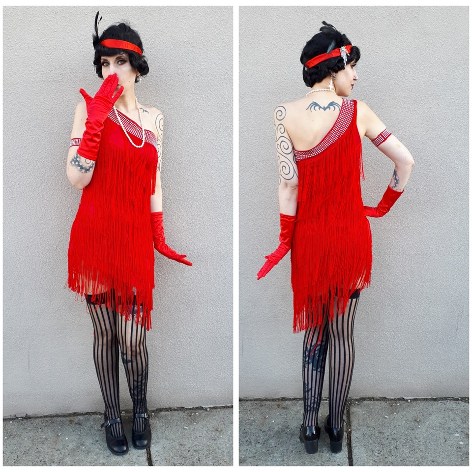 One Shoulder Red Flapper