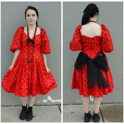 80's Red & Black Polka-Dot Dress
