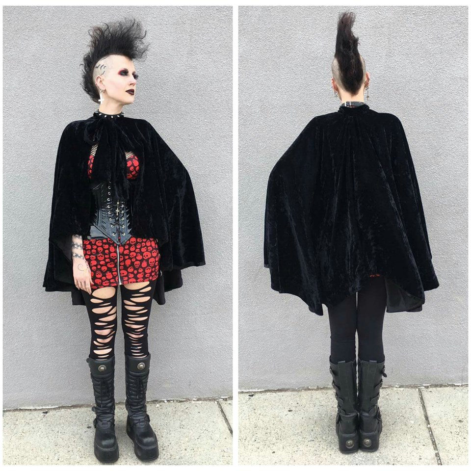 Black Crush Velvet Cape