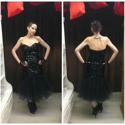 Black Sequin 80's Party Dress