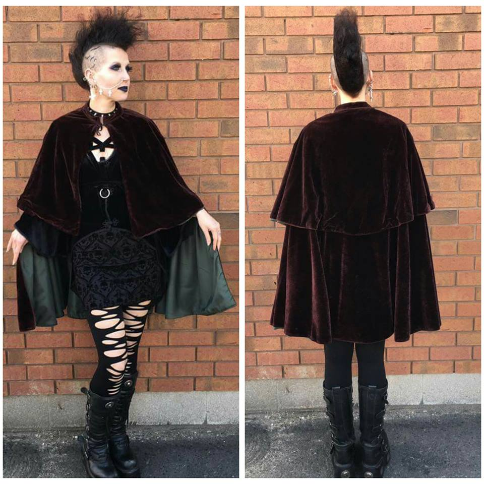 Short Brown Velvet Opera Cape