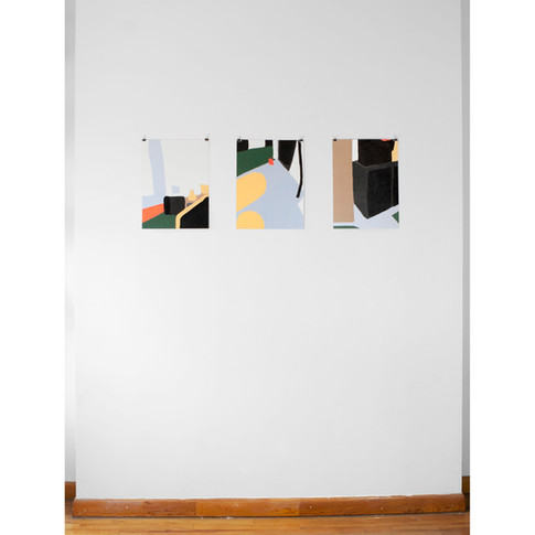 "Installation view of three works on paper from the ""On knowing what I think I might want"" series"