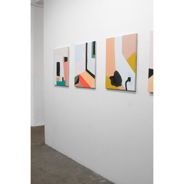 """Installation view of three paintings from the """"On knowing what I think I might want"""" series"""