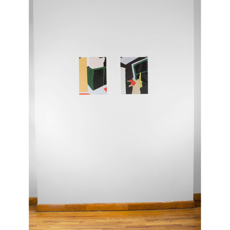 "Installation view of two works on paper from the ""On knowing what I think I might want"" series"