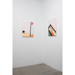 "Installation view of two paintings from the ""On knowing what I think I might want"" series"