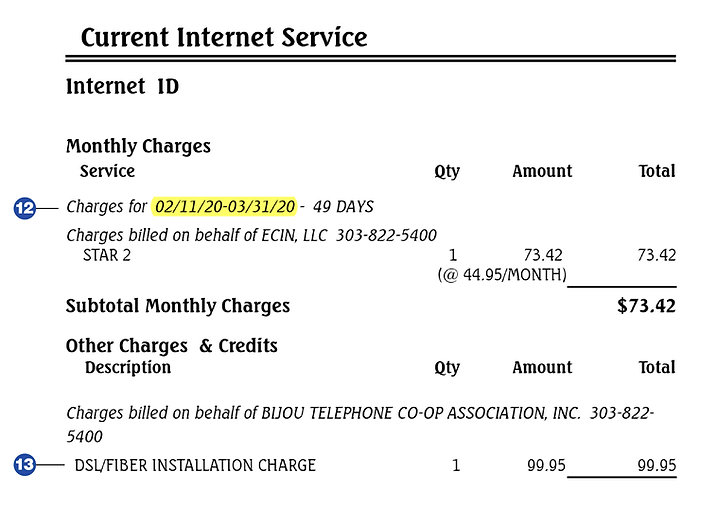 Bijou Bill-Explanation Internet Service Charges Image