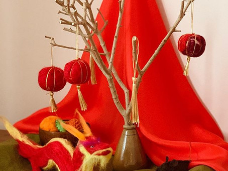 Chinese New Year Nature Table and Lanterns