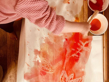 Autumn Wax Resist Watercolour Painting