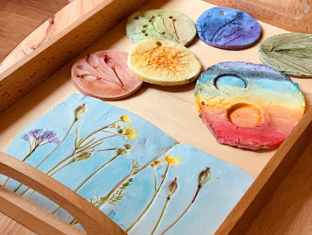 Spring flower clay ornaments