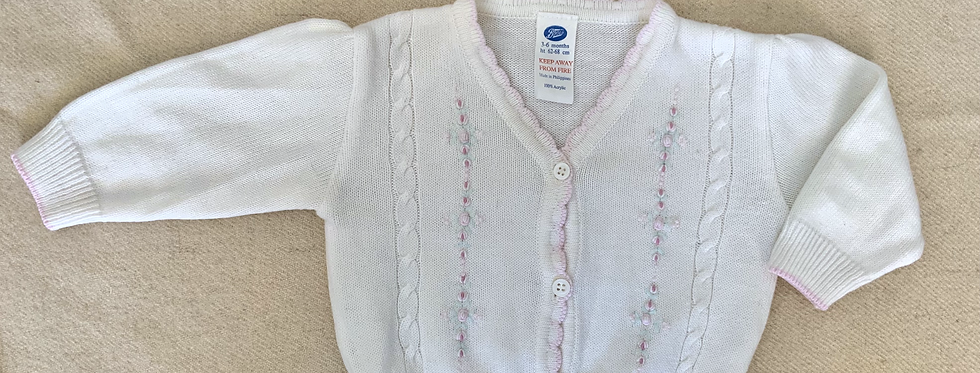 Vintage baby- Embroided Floral Knit Cardigan