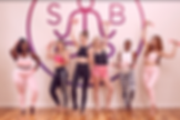 6 girls exciting posing with cute little exclusive Yoga Barre Pose