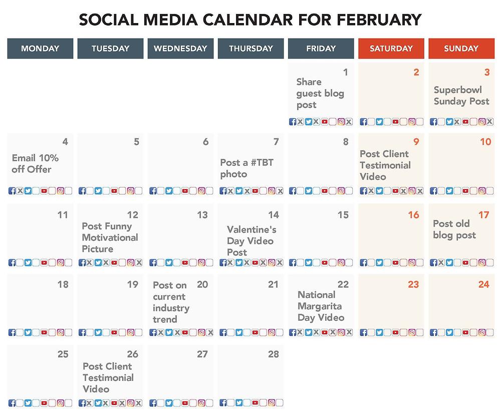 Social Media Calendar For February Example