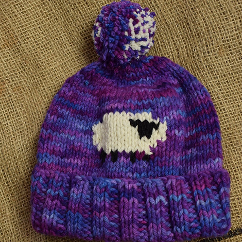 Adult Merino hat - Purple with Sheep