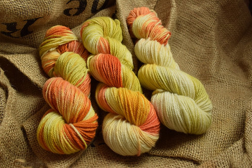Hand dyed Dartmoor Merino Dk 100g - 'citrus'